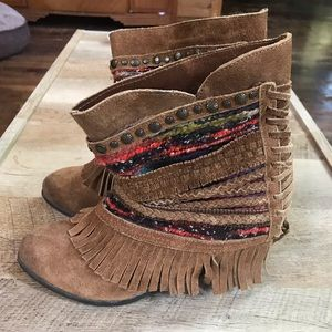 Naughty Monkey fringed suede booties 7.5